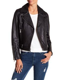 Asymmetrical Zip Leather Moto Jacket
