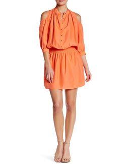 Smocked Silk Shirt Dress