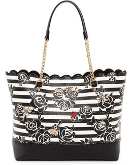 Glam Garden Scalloped Striped Floral Tote