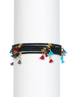 Leanna Tassel Accent Bead Bracelet - Set Of 5