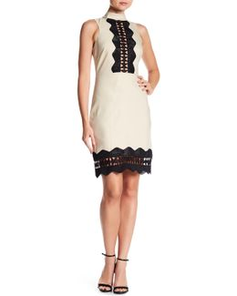 Mock Neck Panel Linen Blend Dress