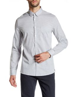 Collared Long Sleeve Modern Fit Heathered Shirt