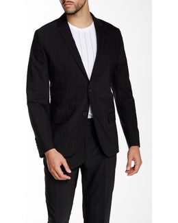 Black Pinstripe Two Button Notch Lapel Blazer
