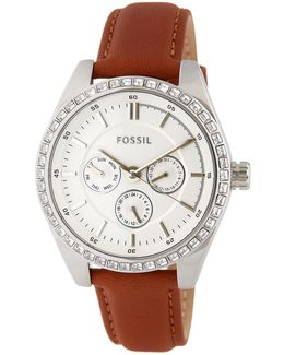 Women's Caressa Leather Strap Watch