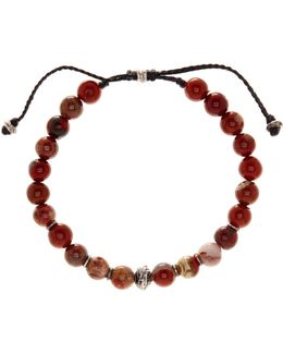 8mm Red Jasper Beaded Cord Bracelet