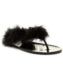Broadway Faux Fur Thong Sandal