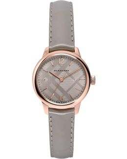 Women's Classic Round Patent Leather Strap Watch