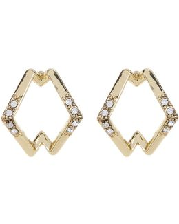 Crystal Detail Sound Wave Stud Earrings