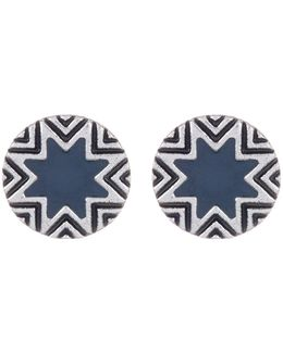 Enamel Detail Sunburst & Engraving Earrings