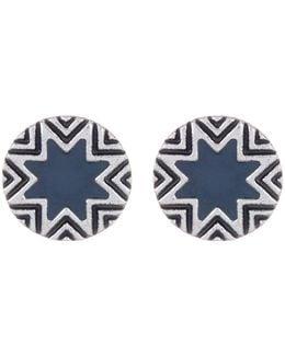 Enamel Detail Sunburst & Engraving Earrings