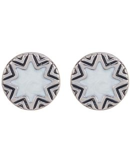 Imitation Pearl Sunburst & Engraved Stud Earrings