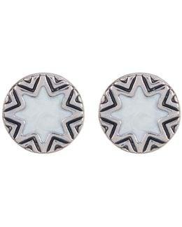Imitation Pearl Sunburst & Engraved Stud Earrings
