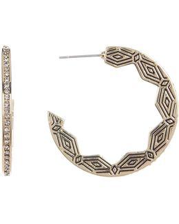 Engraved & Crystal Edge Hoop Earrings