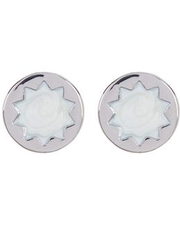 Imitation Pearl Sunburst Stud Earrings