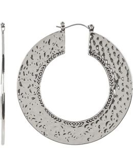 Textured Disc Hoop Earrings