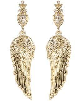 Embellished Drop Angel Wing Stud Earrings