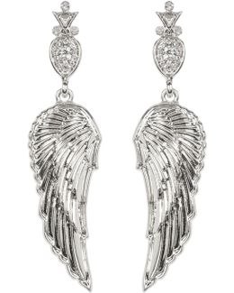 Embellished Drop Angel Wing Stud Earrings