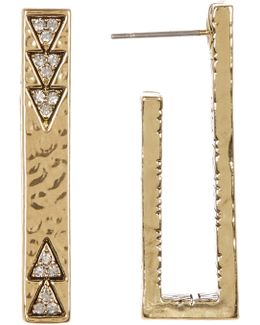Accented U-shaped Bar Stud Earrings