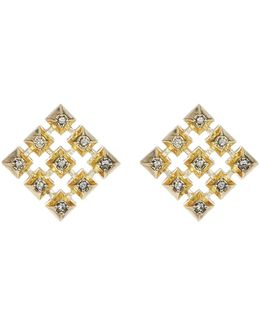 Embellished Grid Square Stud Earrings