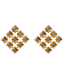Blue Rhinestone Embellished Grid Square Stud Earrings