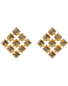 Blue Rhinestone Embellished Grid Square Stud Earrings