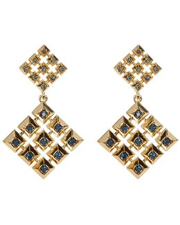 Blue Rhinestone Embellished Grid Square Drop Stud Earrings