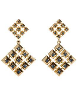 Blue Rhinestone Embellished Grid Square Drop Stud Earrings