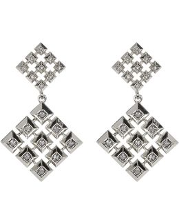 Embellished Grid Square Drop Stud Earrings