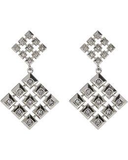 Embellished Grid Square Drop Stud Earrings