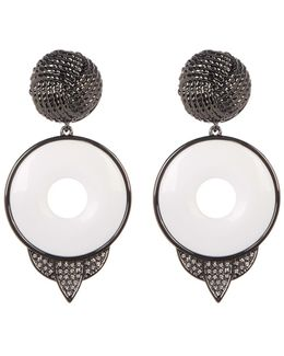 Drop White Agate Statement Earrings