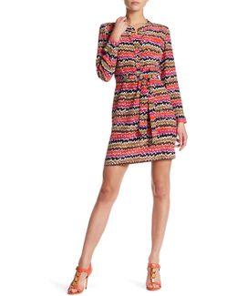 Janny Wavy Stripe Long Sleeve Silk Dress