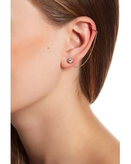 Round Cz Stud Chain Swag Earrings