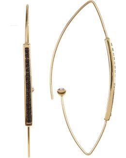 Black Pave Marquise Hoop Earrings