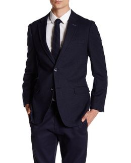 Gene Diamond Weave Two Button Notch Lapel Suit Separates Jacket