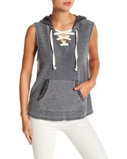 Burnout Lace-up Hoodie