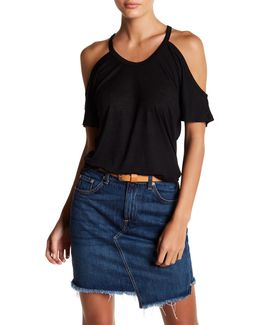 Heathered Cold-shoulder Tee