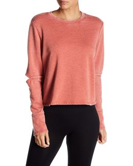 Elbow Cutout Cropped Pullover