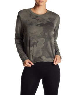 Elbow Cutout Camo Cropped Pullover