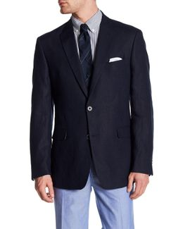 Navy Woven Two Button Notch Lapel Linen Jacket