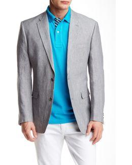 Ethan Linen Grey Sharkskin Two Button Notch Lapel Coat