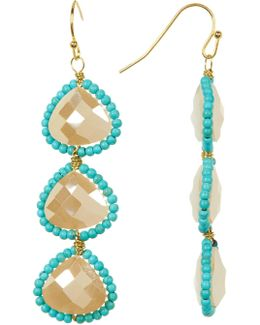 Ivory Crystal Teardrop Earrings