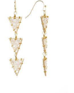 Wire-wrapped White Bead Triple Triangle Drop Earrings