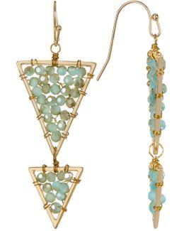 Glass Beaded Triangle Drop Earrings