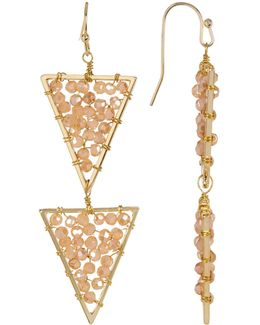 Glass Beaded Triangle Drop Earrings