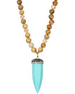 Jasper Beaded Turquoise Horn Pendant Necklace