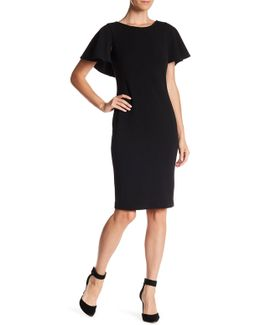 Split Flutter Sleeve Crepe Sheath Dress