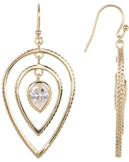 Cz Textured Teardrop Earrings