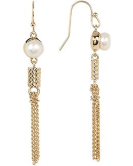 Freshwater Pearl & Tassel Dangling Earrings