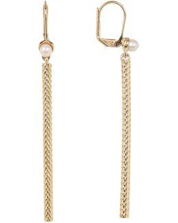 Freshwater Pearl Weave Bar Drop Earrings