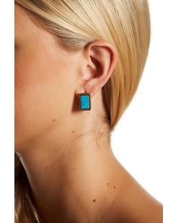 Turquoise Stone Boxy Huggie Hoop Earrings